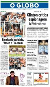 Capa de O Globo, 09/12/2013.