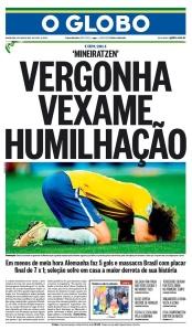 Capa de O Globo após o 7 a 1