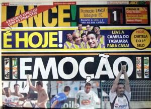 """Primeira página do """"Lance!"""" destaca a emoção causada pelo início do mata-mata no Brasileiro de 2002."""