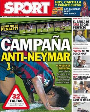 """Diário esportivo """"Sport"""", da Espanha, repercute entrevista do técnico José Mourinho em outubro de 2013, quando criticou Neymar por ser """"cai-cai""""."""