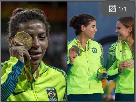 Das sete medalhas de ouro conquistadas pelo Brasil na Rio-2016, apenas duas delas são femininas, com Rafaela Silva (à esq.) Martine Grael e Kahena Kunze. Das 19 medalhas de ouro conquistadas pelo Time Brasil nos Jogos deste ano, 5 foram conquistadas por mulheres. Fotos: El país.