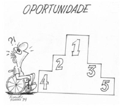 Estatuto da pessoa com deficiência foi sancionado em julho de 2015, no então governo de Dilma Rousseff. Após um ano, adequação às regras e fiscalização andam em ritmo lento. Cartum: Ricardo Ferraz (1989)
