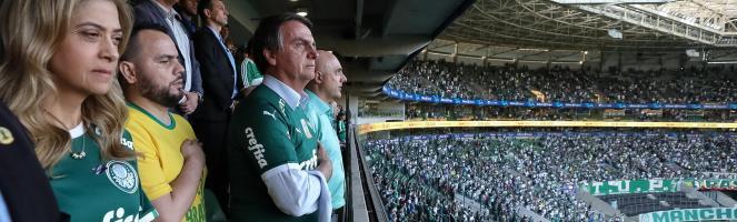 Jair Bolsonaro em jogo do Palmeiras